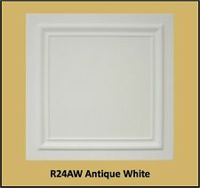 Decorative Texture Ceiling Tiles Glue UP - R24AW Antique White Finish On SALE