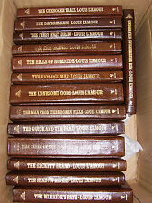 louis l'amour leather, not leatherete, books gilt edged pages,  PICK 3
