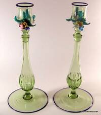 Antique Venetian Murano Art Glass Candlestick Pair with Applied Flowers