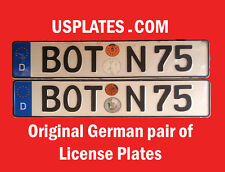AUTHENTIC ORIGINAL GERMAN LICENSE PLATES PAIR MERCEDES BMW AUDI WV LOW # BOT 75