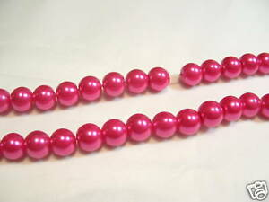 JOB LOT of 10 strings x Glass Pearl 6mm Round Beads: #82B Cerise 1440 beads
