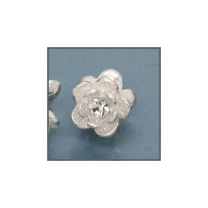 2 Silver Rose Flower Spacer Beads w/Swarovski 6mm 51442