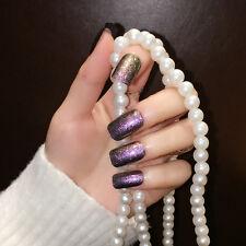 24pcs Purple Color w/ Glitter Long False Nails Square head Full Tips Nail Art