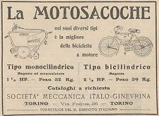 Y7937 Biciclette a motore La Motosacoche - Pubblicità d'epoca - 1909 Old advert