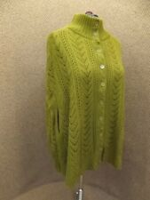 J London NEW Olive Green Open Knit Button Down Cape Poncho Sweater Jacket 18/20