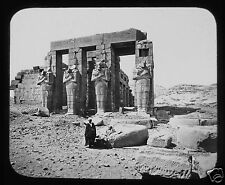 Glass Magic Lantern Slide PORTICO OF RAMESEUM THEBES C1890 EGYPT EGYPTIANS