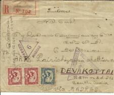 Indo-China Sc#158,#162(pair)RACHGIA 22/MR/40 Registered(label) WWII CENSORS