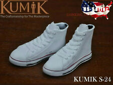 "1/6 KUMIK Women Converse Sneakers WHITE S24 For 12"" Hot Toys Phicen Female USA"