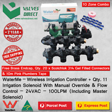 """WaterMe-WiFi Irrigation Controller+Qty10 x1"""" Solenoids+Qty 1 x1"""" Master Solenoid"""