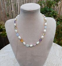 Amethyst Rose Quartz Citrine Pearl Necklace Sterling Silver Clasp Beads