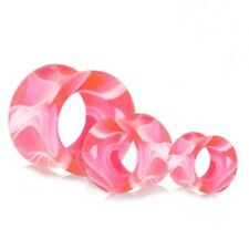 """Ear Tunnels 14mm/9/16"""" Gauge Body Jewel Pair-Marble Pink Uv Acrylic Double Flare"""