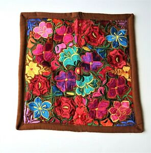 Embroidered Pillow Case - Mexican Textiles - Brown - Home Decor