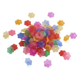 100pcs Random Acrylic 3D Flower Beads Frosted Matte Loose Bead Caps Beading 12mm