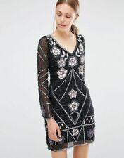 Frock and frill embellished mini dress black Uk 12