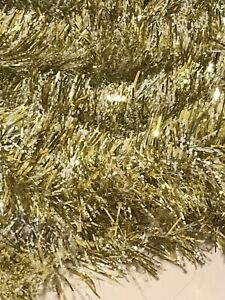 Brite Star 15 ft Vintage Wire Garland Gold White Snow Speckled New Old Stock
