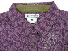 Columbia Button Down Shirt Maple Leaf Print Long Sleeve Blue Coral Purple S-M-L