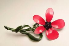 VINTAGE BEAUTIFUL RED GREEN ENAMEL FLOWER BROOCH PIN COSTUME JEWELRY