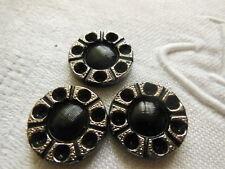 trio cabochons vintage verre à strasser noir gris ancien 1,8 cm   bijoux R 564