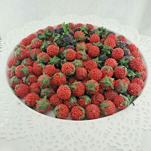 """Fake Fruit Blackberries (62) and Raspberries (112 pieces) - Life Like size 1/2"""""""