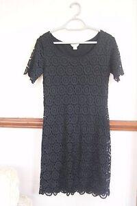 Monsoon Black Lace Crochet  Office Party Cocktail Dress NWOT UK 8 - 10 US 4