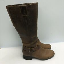 Clarks Riding Boots Women Size 6M Side Zip Brown Leather Upper