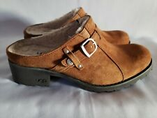 UGGS AUSTRALIA Tan Brown Suede Leather Clogs Sheepskin Lined Chunky Heel 7 NICE!