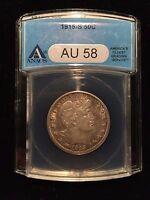 1915 S Barber Liberty Head Half Dollar 50c ANACS AU58 Choice About Unc Key Date