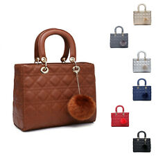 Woman Synthetic Leather Medium Diamond - Quilted Tote Commuting Shoulder Handbag