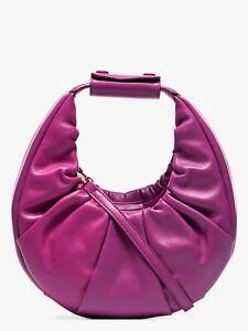 NWT STAUD MINI SOFT MOON BERRY PINK LEATHER CONVERTIBLE HOBO/CROSSBODY BAG-$350
