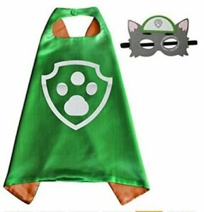 PAW PATROL ROCKY Cape & Mask Set, Green Girls/Boys Party Fancy Dress + STICKERS