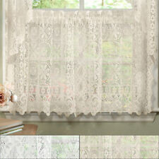 Hopewell Heavy Floral Lace Kitchen Window Curtain 24 x 58 Tier
