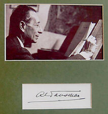PIANIST Composer ALEXANDRE TANSMAN Hand SIGNED AUTOGRAPH + PHOTO +DECORATIVE MAT