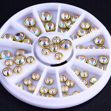 55Pcs AB Color Rhinestones Multi-Size Metal Edge 3D Nail Art Decoration in Wheel