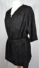 VINTAGE Edwardian black fabric tunic top adapted with belt embroidered upcycled
