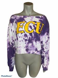 PINK Victorias Secret ECU Open Neck Purple Tie Dye Cropped Sweatshirt Med NWT