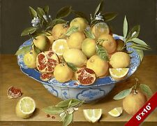 BLUE WHITE BOWL WITH LEMONS & POMEGRANATES FRUIT PAINTING ART REAL CANVAS PRINT