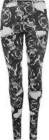 New Plus Size Skull Pirate Print Womens Long Leggings Ladies Black White 12 - 26
