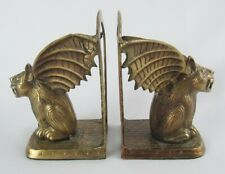 Vintage Brass Metal Winged Gargoyle Mythical Fantasy Bookends - Cool Decor!