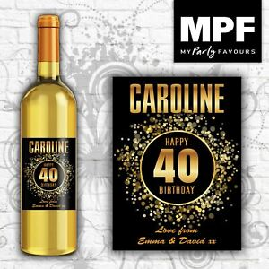 Personalised Birthday Wine Bottle Label 18th, 21st, 30th, 40th, 50th, 60th G1