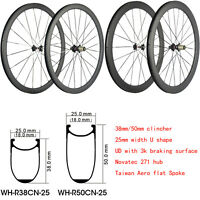 25mm Width 700C Carbon Bicycle Wheelset 38/50mm Clincher Carbon Wheels UD Matte