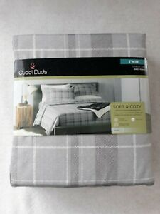 CUDDL DUDS SOFT & COZY TWIN SHEET SET GRAY PLAID DESIGN BRAND NEW FREE SHIPPING