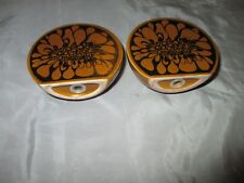 Carlton Ware Pottery Brown Black Floral Sphere Sal Pepper Shakers Pots
