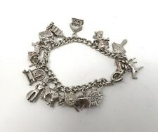 Great Vintage Sterling Silver 925 Charm Bracelet with Silver Charms 43g