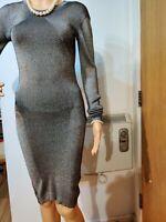 REISS FITTED DRESS SIZE UK 6 US 2 BLACK  CREAM WOOL VISCOSE POLYAMIDE
