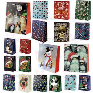 Glossy Christmas Gift Bags Various Designs Sizes Xmas Cats Dogs Tree Santa New