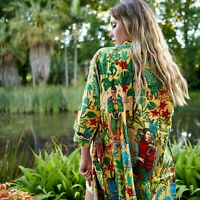 Frida Kahlo Cotton Kimono Open Top Kaftan Frida Kahlo Bird Bathrobe Beach