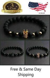 Gorgeous Crown Natural Stone Matte Black Charm Men's CZ Copper Bead Bracelet
