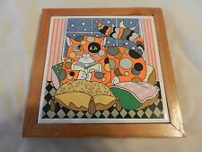 Polka Dot Cat on Pillow Ceramic Tile Trivet or Wall Hanging in Wood Frame