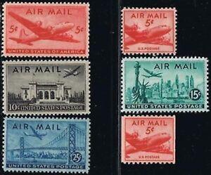 US Scott # C32 through C37 1946-47 Airmails MNH