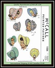 BABY Bonnet GIRLS SUNBONNET HAT VTG McCall 1526 1950's Fabric Sewing Pattern